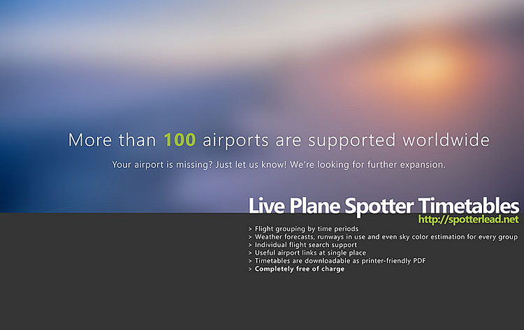 www.spotterlead.net, Webseite für Planespotter